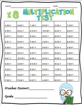 Math Facts: Multiplication Practice and Tests for x0 -- x10 & x0 -- x12