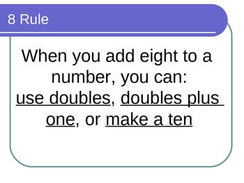 Math Facts Power Point for the Eight Rule for math fluency with Common Core
