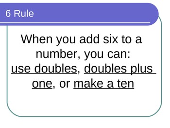 Math Facts Power Point for the Six Rule for math fluency with Common Core