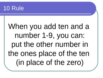 Math Facts Power Point for the Ten Rule for math fluency with Common Core