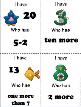 """Math Facts Practice Game for Primary Grades: """"I Have...Who Has...?"""""""