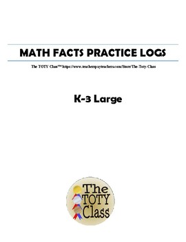 Math Facts Practice Log K-3 Large