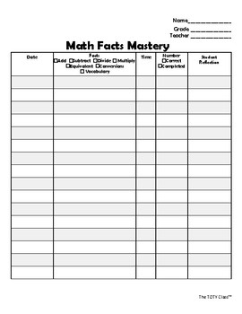 Math Facts Practice Log 4-6