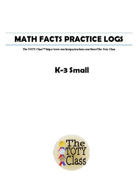 Math Facts Practice Log K-3 Small