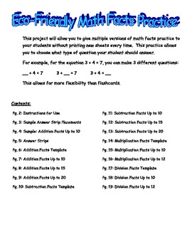 Math Facts Practice for Addition, Subtraction, Multiplication, and Division