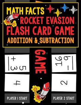 Math Facts Rocket Evasion Flash Card Game: Addition & Subtraction