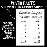 Math Facts Student Tracking Sheet