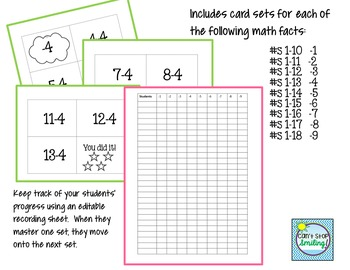 Math Facts Subtraction Including Editable Recording Sheet