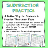 Math Facts:  Subtraction Practice and Tests for -0 through -12