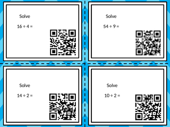 Math Facts Task Cards with QR Code
