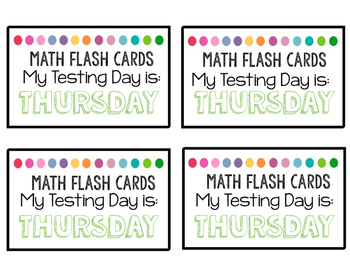 Math Facts Testing Labels