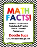 Math Facts Unit: Addition & Subtraction Flash Cards & Weekly Assessments