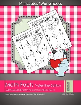 Math Facts: Valentine Edition (Addition and Subtraction)