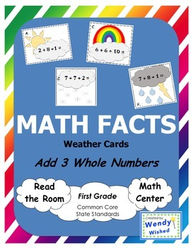 Math Facts: Add 3 Whole Numbers Seasons Weather Cards (Com