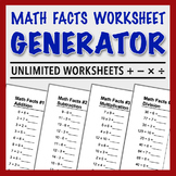 Math Facts Worksheet Generator