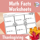 Thanksgiving Math Facts Worksheets