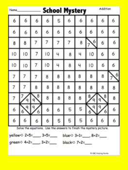 Math Facts and Numbers Mystery Pictures - Back to School Addition, Subtraction..