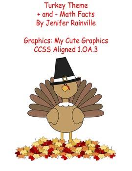 Math Facts + and -  Turkey Theme