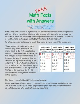 Math Facts with Answers - FREE version