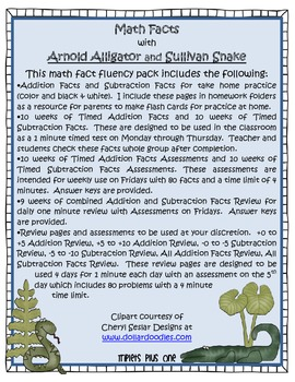 Math Facts with Arnold Alligator and Sullivan Snake