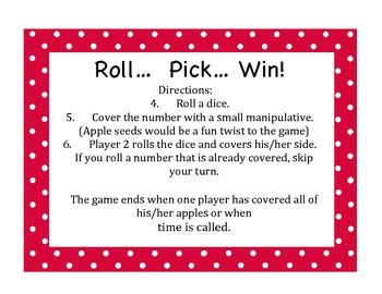 Math Fall Centers (Dice games)