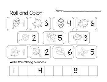 Math Fall Roll and Color