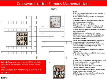 Math Famous Mathematicians Wordsearch Crossword Anagram Alphabet Starters