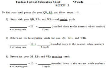 Math Fantasy Football (Complete Packet)