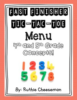 Math Fast Finisher Tic Tac Toe Choice Bundle