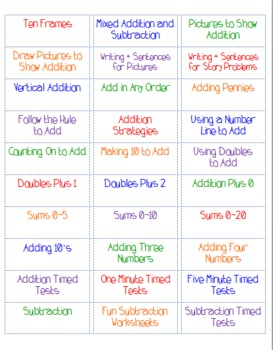 Math File Folder Labels by Skill