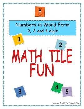 Numbers in Word Form: Math Tile Fun (Set 2)