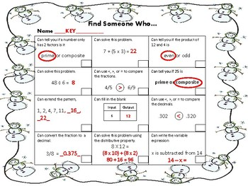Math Find Someone Who Review