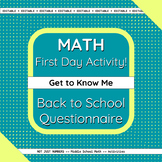 Back to School Math First Day Activity - Get to Know Me Su