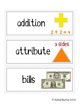 Math First Grade Common Core Vocabulary Cards - Student Flash Cards