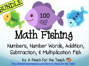 Math Fishing Bundle- Number Recognition, Addition, Subtraction, Multiplication