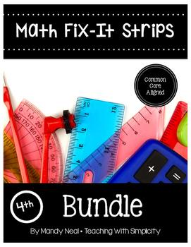 Math Fix-it Strips for 4th Grade Math Bundle