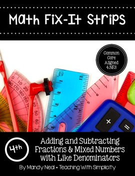 Math Fix-it Strips for Adding and Subtracting Fractions Like Denominators (4th)