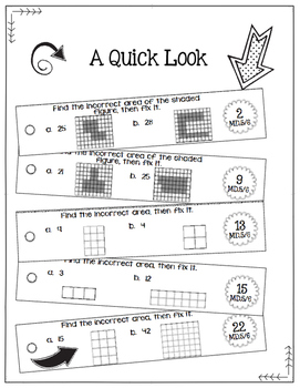 Math Fix-it Strips for Area in Square Units