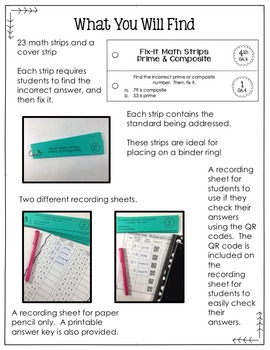 Math Fix-it Strips for Equivalent Fractions (4th)