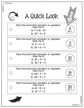 Math Fix-it Strips for Multiplication & Division Facts