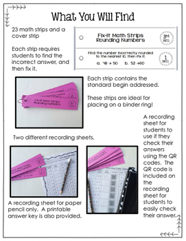 Math Fix-it Strips for Subtraction