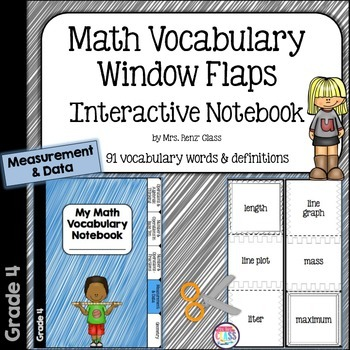 Math Vocabulary Flaps Interactive Notebook Foldable Measurement ...