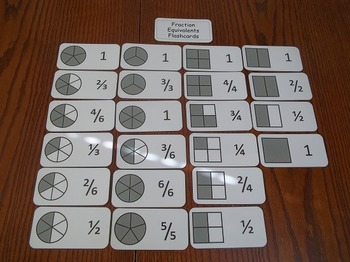 Math Flash Cards.  22 Laminated Fraction Equivalents Flash