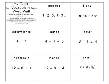 Math Flashcards Spanish PK-2nd Grade