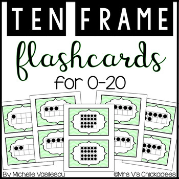 Math Flashcards: Ten Frames 1-20 by Mrs V\'s Chickadees | TpT