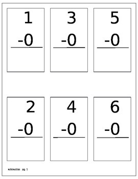 Math Flashcards subtraction 0-12