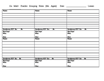 Math Flexible Grouping Notes Template