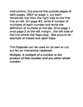 Math Flipbook Foldable for Multiples