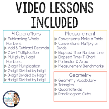 Distance Learning Math Flipped Lesson Yearlong Bundle for 4th grade