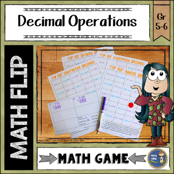 Adding Subtracting Multiplying and Dividing Decimals Math Flips Game
